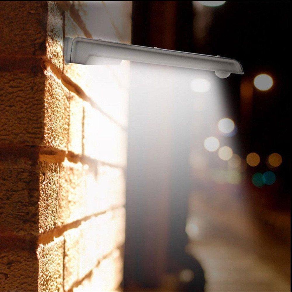 【2 Stück】LED Solar Wandleuchte Wandstrahler Gartenlampe Tageslicht mit Aluminium Gehäuse ,Bewegungsmelder, Akustiksensor und Lichtsensor, 20 LEDs, Tageslicht, IP65, 30.000 Std, Lebensdauer für Garten (2 Stk) Nuodi