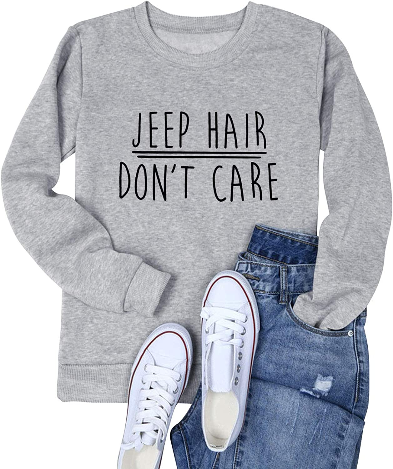 Nlife Women Jeep Hair Don't Care Letter Casual Sweatshirts Long Sleeve Blouse