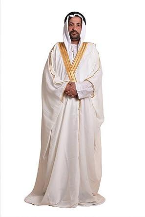 Amazon.com  Hob Off White Bisht Cloak Arab Dress Thobe Saudi Mens Robe Eid   Clothing 4c2e03059