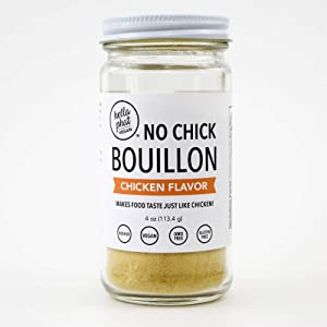 Hella Phat Vegan No Chicken Bouillon Powder - Gluten Free, Low Sodium, All Natural Veggie Broth and Stock. Use it to make ramen, soup, gravy or any vegan food and vegetable. Better than cubes.