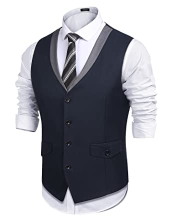 3f892681a COOFANDY Men s Casual Suit Dress Vest V Neck Slim Fit Waistcoat Vest Navy  Blue