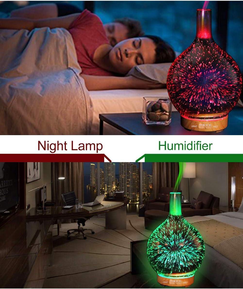 YunNasi Diffusore di Oli Essenziali Umidificatore Ambiente in Vetro con Nebbia Fredda con 7 Colori Luci LED Aromaterapia Diffusore di Aromi Senzacqua Auto Off per Yoga Meditazione Camera