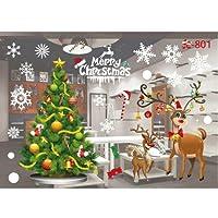JANLY Autocollants muraux de Noël Salon Noël Santa Claus Snowman Elk Stickers muraux Décoration de fenêtre