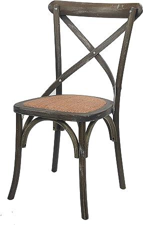Totò Piccinni Sedia in Legno Design Cross, Seduta Intreccio Rattan, Alta QUALITA' (Grigio Scuro, 1)