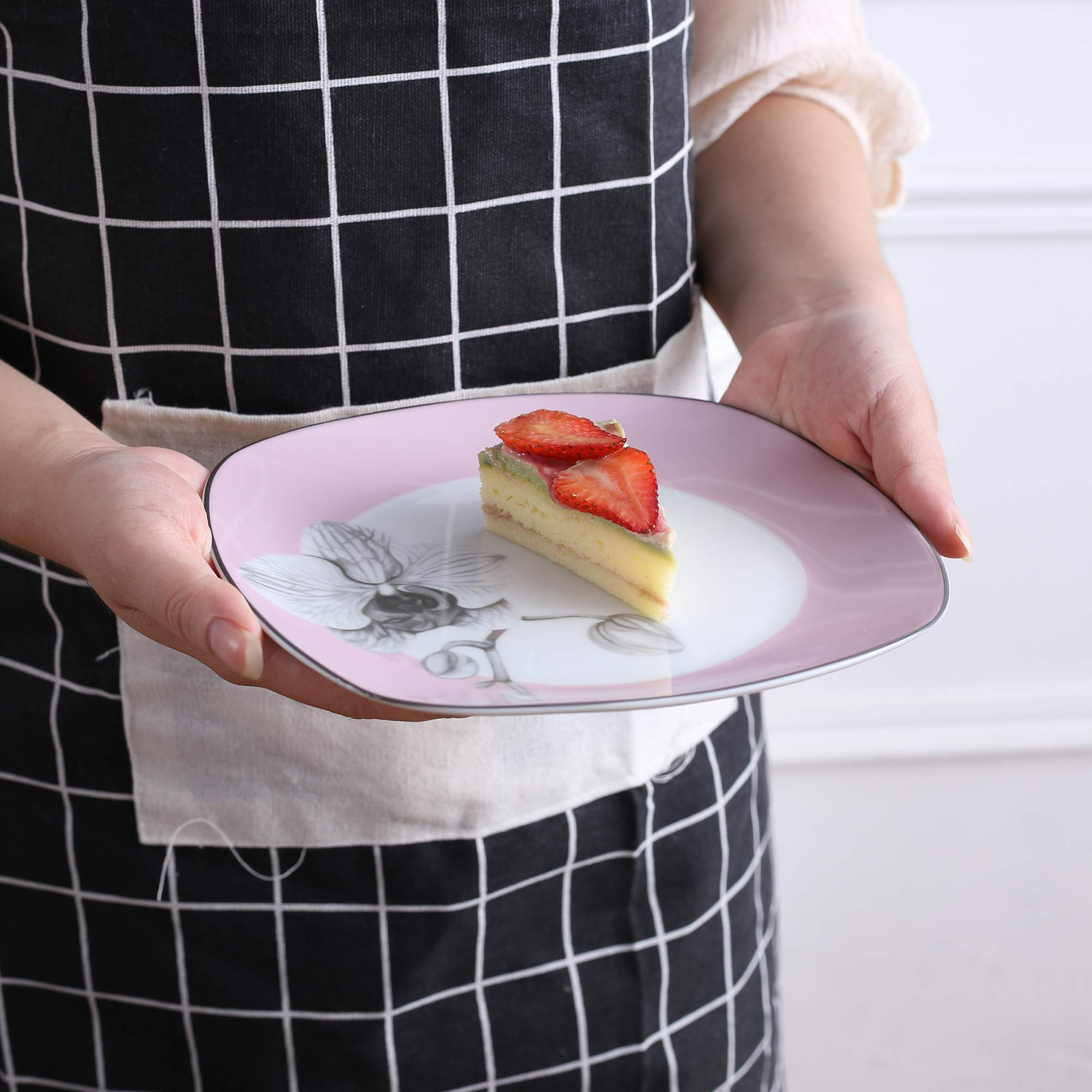 VEWEET 4-Piece Porcelain Dessert Plate Set, Durable Ivory White Bread 7-1/2 Inch Salad Plates DEBBIE Series by VEWEET (Image #4)