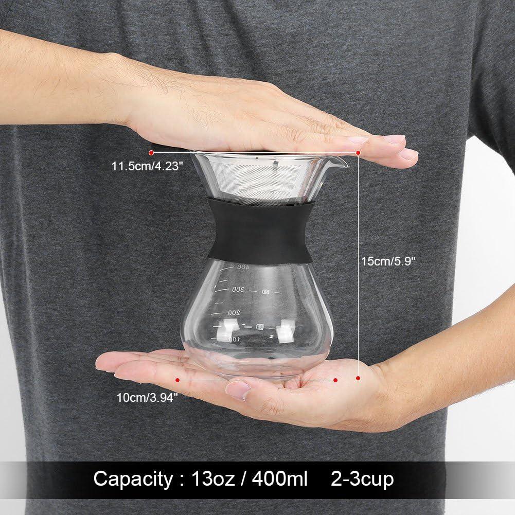 elegante goteador de caf/é Biuzi Pour Over Coffee Maker filtro de goteo de acero inoxidable 13.5 oz cafetera de vidrio
