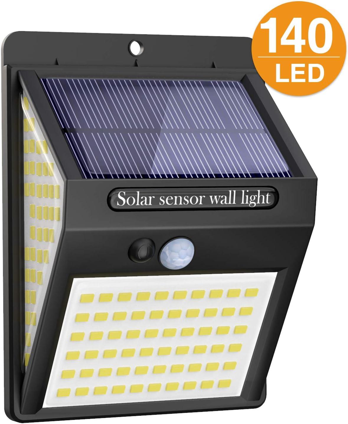 Litogo Luz Solar Exterior 140 LED【1 Pack / 3 Modos】con Sensor de ...