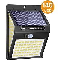 Litogo Luz Solar Exterior 140 LED【1 Pack / 3 Modos】con Sensor de Movimiento, Luces LED Solares Exteriores 270º…