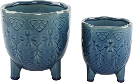 Amazon Com Flora Bunda 6 In 4 25 In Lobster Ceramic Footed Plant Pot Glass Teal Set Of 2 Garden Outdoor