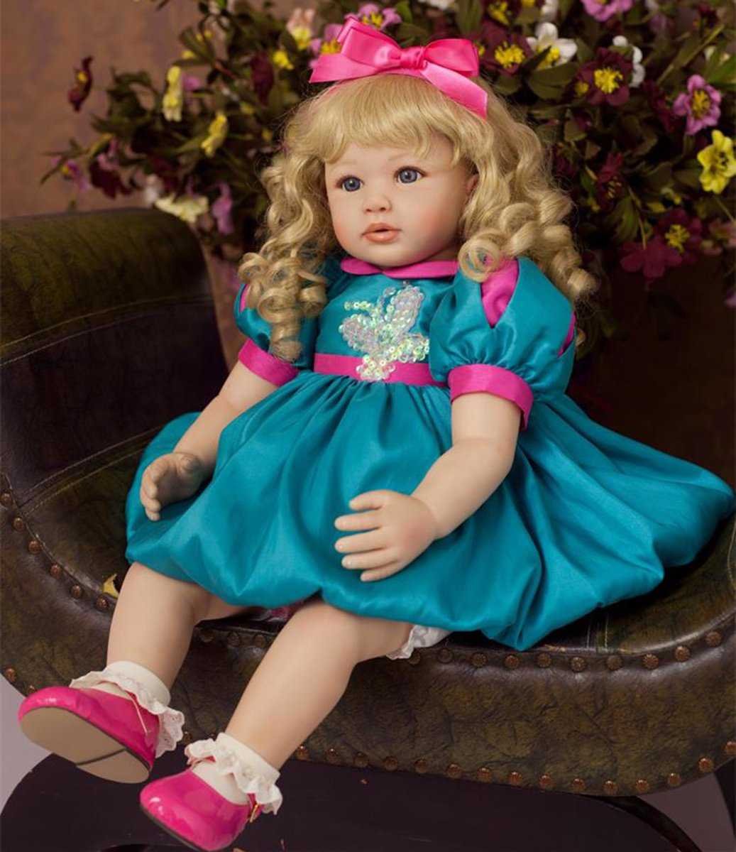 Pursue Baby Beautiful Soft Body Real Looking Reborn Toddler Girl Doll with Blonde Curly Hair Isabella, 24 Inch Lifelike Princess Girl Doll with Matching Outfits