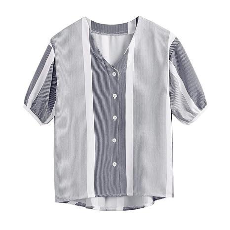 YJYDADA - Blusa de Manga Corta con Botones Sueltos para Mujer ...