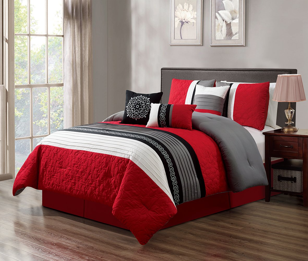 GrandLinen 7 Piece Red/Grey/Black/White Scroll Embroidery Bed In A Bag Microfiber Comforter Set (California) CAL KING Size Bedding. Perfect For any Bed Room or Guest Room