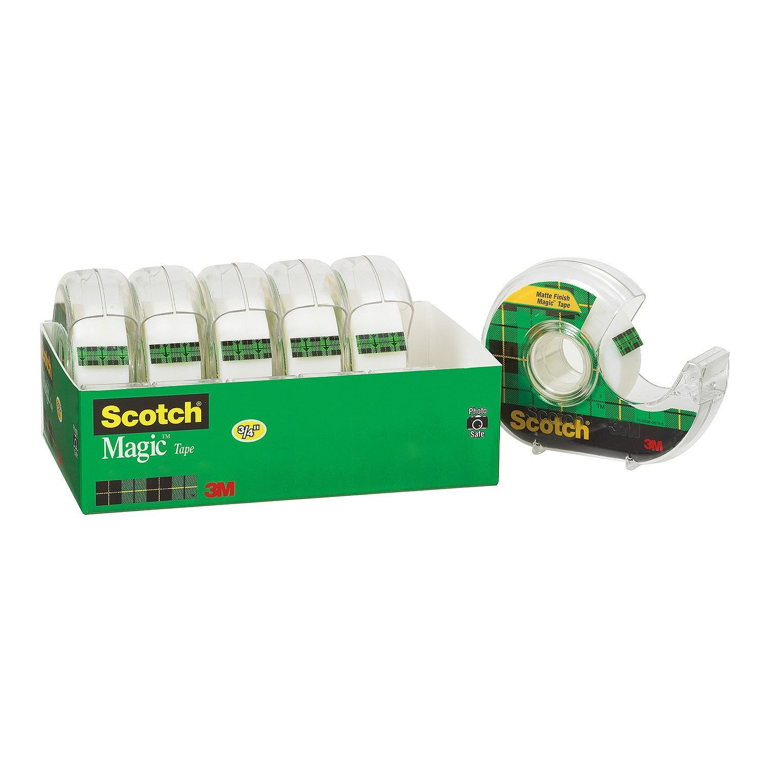 "Scotch Magic Tape w/ Refillable Dispenser, ¾"" x 850"" Each, 5100 Inches Total, 6 Pack"