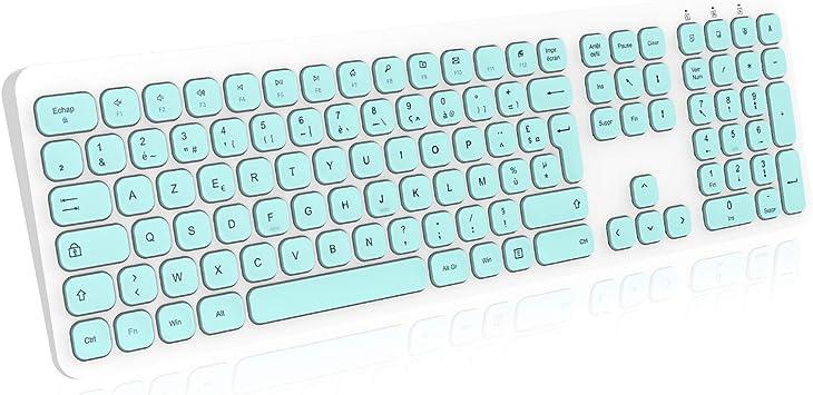 cimetech - Teclado inalámbrico de 2,4 GHz con teclado digital, tamaño completo, para tablet, ordenador portátil, ordenador individual, color blanco y ...