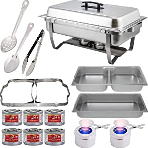 """Chafing Dish Buffet Set w/Fuel — Folding Frame + Divided pan (4qt x 2)+ Full Pan (8 qt) Water Pan + Fuel Holders + 6 Fuel Cans + Serving Utensils (11"""" Solid & Perforated Spoon + 9"""" Tongs) Warmer kit"""