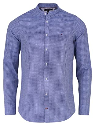 Tommy Hilfiger Slim Fit Hemd Grid Dobby Langarm geknöpft Muster blau   Amazon.de  Bekleidung 7abb73aea0