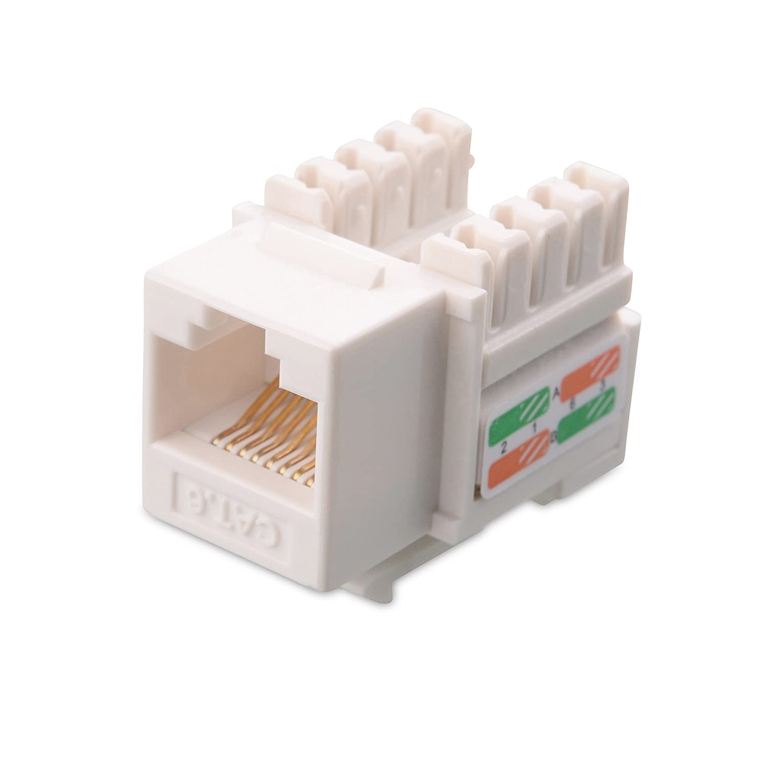 Cable Matters Ul Listed 25 Pack Cat6 Rj45 Keystone Connector Cat 6 Wiring Diagram Further Wire Jack In White And Punch Down Stand Computers Accessories