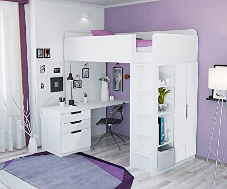 Polini Home Cama Alta Armario y Escritorio, Color Blanco con ...
