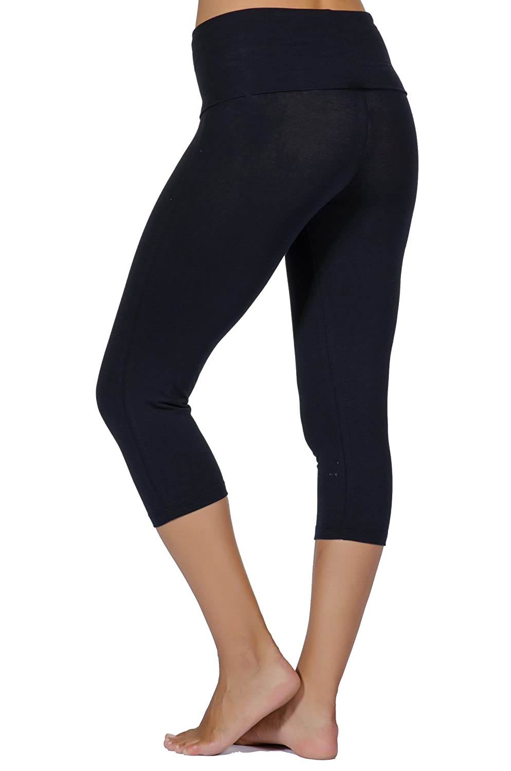 Soft, Stretchy, & Easy Fit Organic Cotton Roll Over Capris By in Touch at  Amazon Women's Clothing store: Athletic Leggings