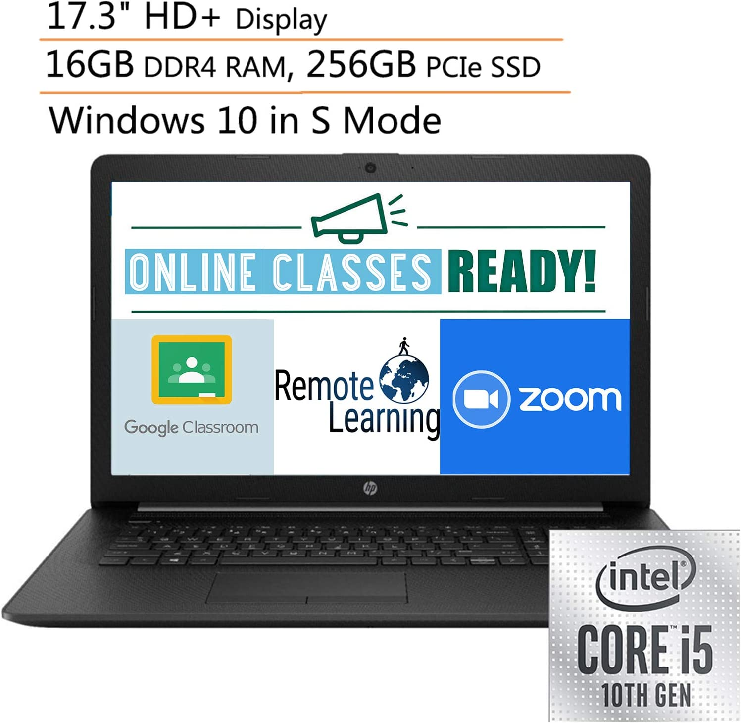 "2020 HP 17 17.3"" HD+ Laptop Computer, 10th Gen Intel Quad-Core i5 1035G1 Up to 3.4GHz (Beats i7-7500u), 16GB DDR4 RAM, 256GB PCIe SSD, DVDRW, Webcam, Windows 10, Ipuzzle Mouse Pad, Online Class Ready"