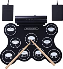 CAHAYA Batería Electrónica Tambor Recargable Tambor Plegable 5 Modos con Altavoces, 9 Almohadillas, Pedales, Varillas Admite Conexión con Auriculares Computadoras Smartphone