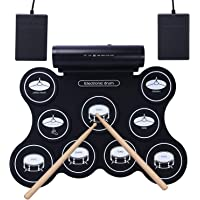 CAHAYA Batería Electrónica Tambor Recargable Tambor Plegable 5 Modos con Altavoces, 9 Almohadillas, Pedales, Varillas…