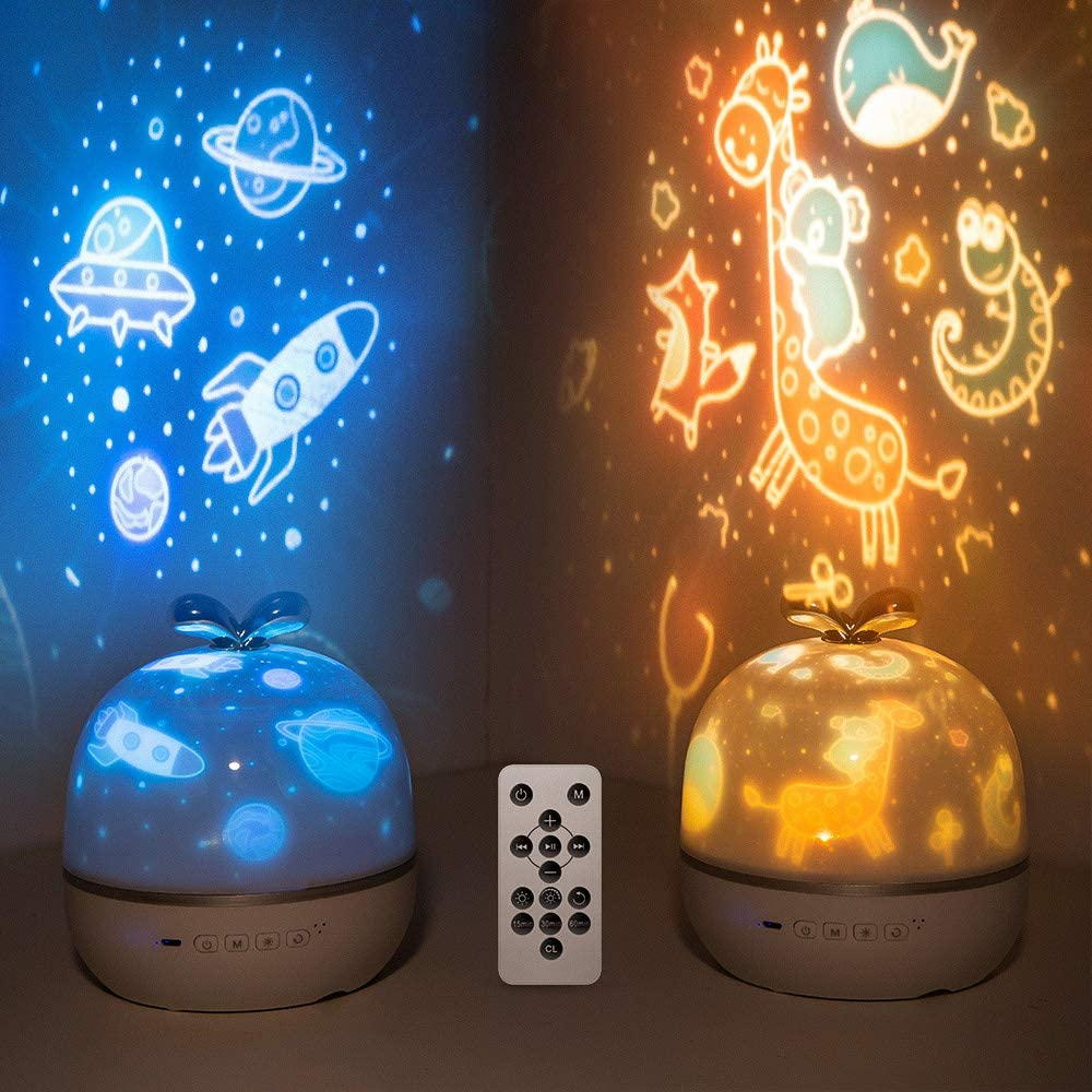 Night Light for Kids, Star Projector Kids Night Light with Bluetooth Timer, Musical Ceiling Projector Nursery Star Night Light Projector for Kids Girls Toddlers Christmas Gifts -Remote( 6 Set Of Film)