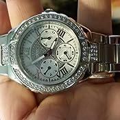 Amazon.com: GUESS Women's U0111L1 Sparkling Silver-Tone Hi ...