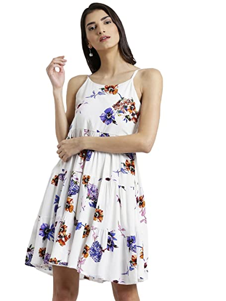4746411d37 Zink London White Floral Print A-Line Dress for Women  Amazon.in ...