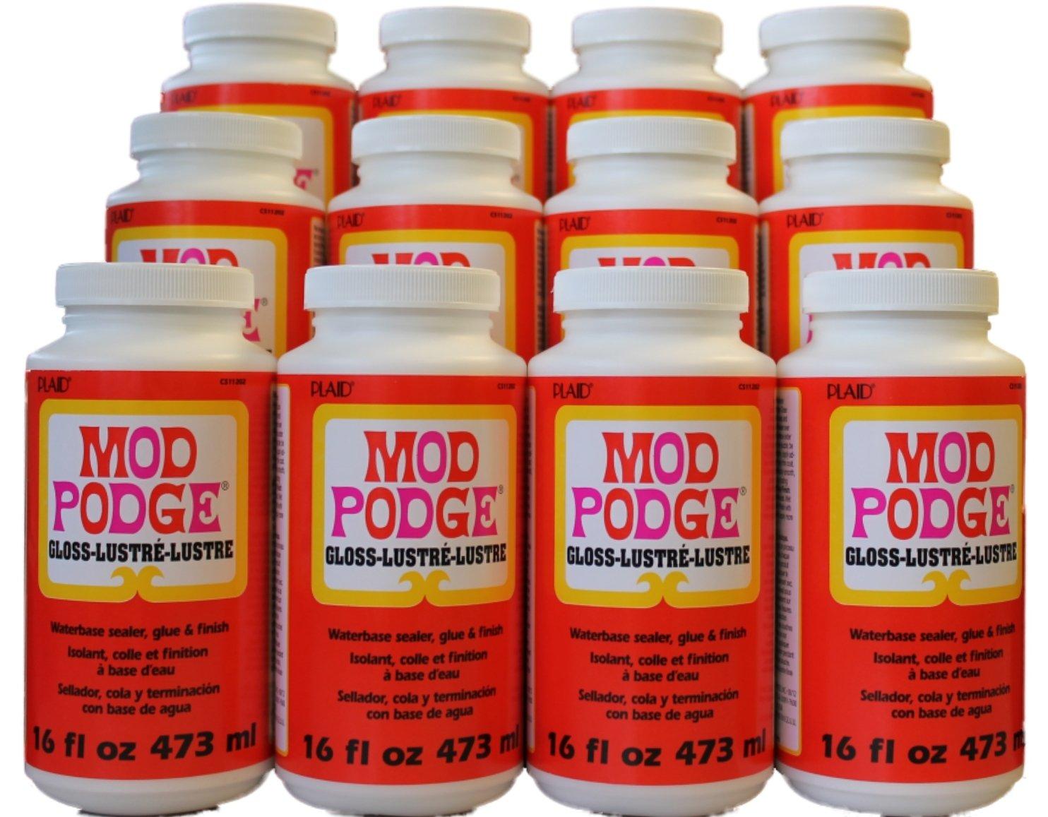 MOD PODGE All-In-One Gloss Glue, Sealer & Finish (Set of 12), 16 oz Plaid Enterprises Inc. AMZCS11202