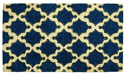 Evergreen Blue Geometric Pattern Coir Door Mat