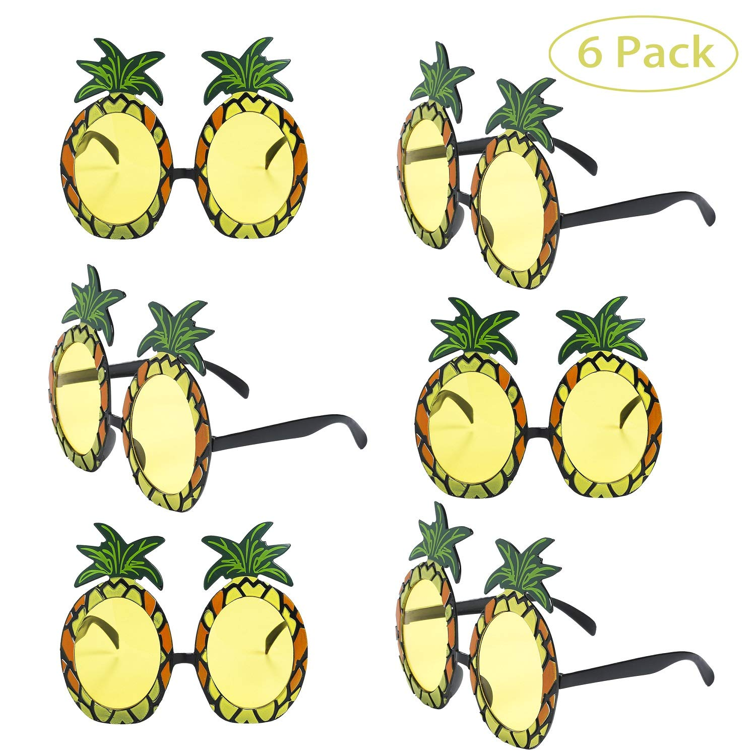 Peirich 6 Pairs Pineapple Sunglasses Fun Party Eyeglasses for Hawaiian Photo Props Costume Fancy Dress Party Supplies