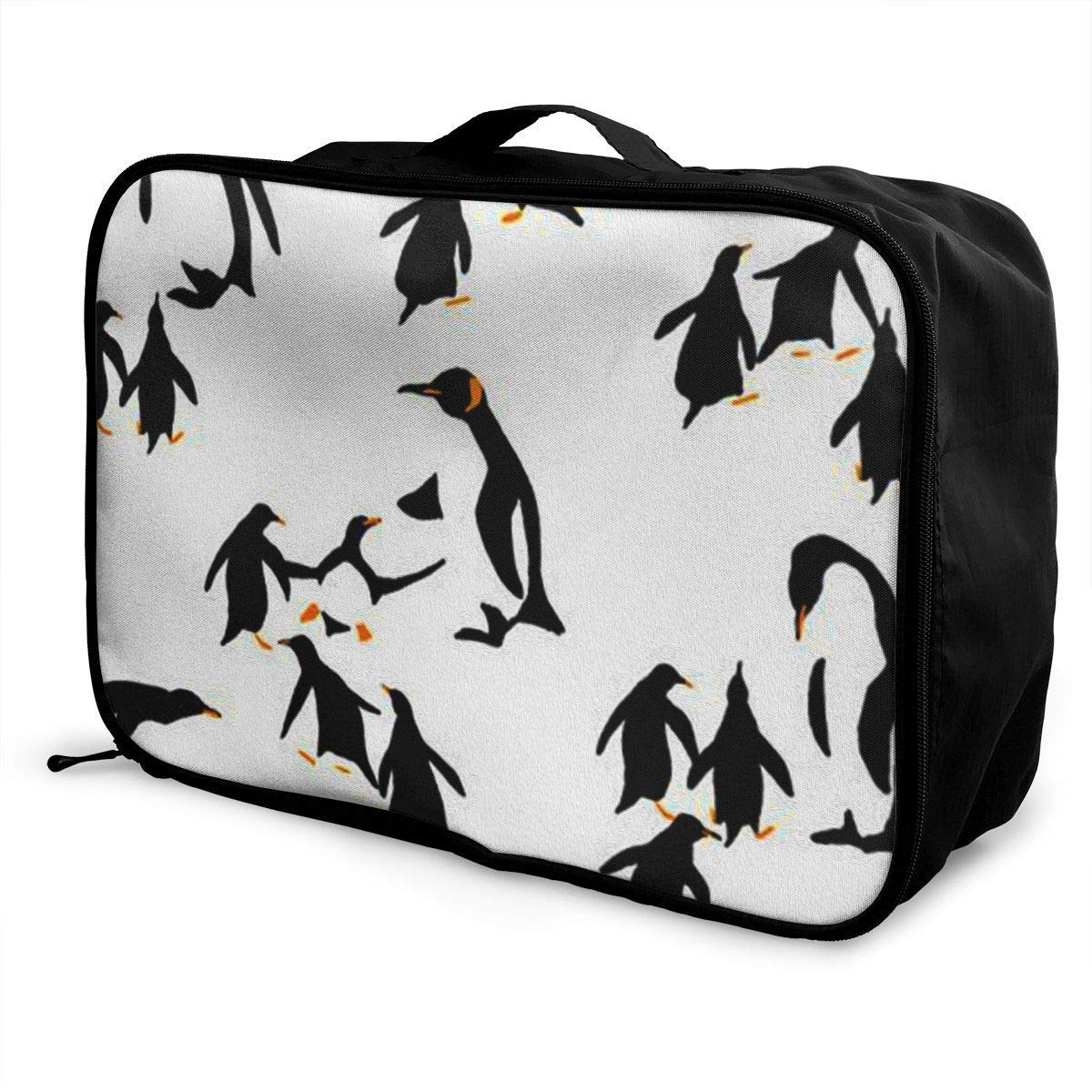 Portable Luggage Duffel Bag Penguin Pattern Travel Bags Carry-on in Trolley Handle JTRVW Luggage Bags for Travel