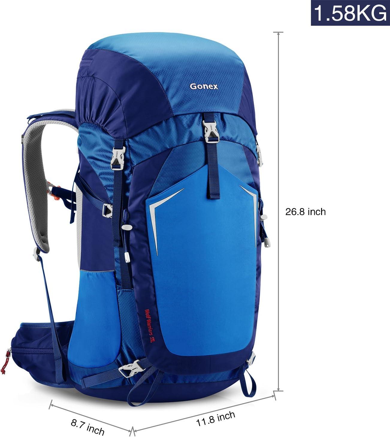 Gonex 55L Mochila de Senderismo Camping al Aire Libre Trekking Daypack Wolf Warriors Bolsa de Deporte Cubierta de Lluvia incluida