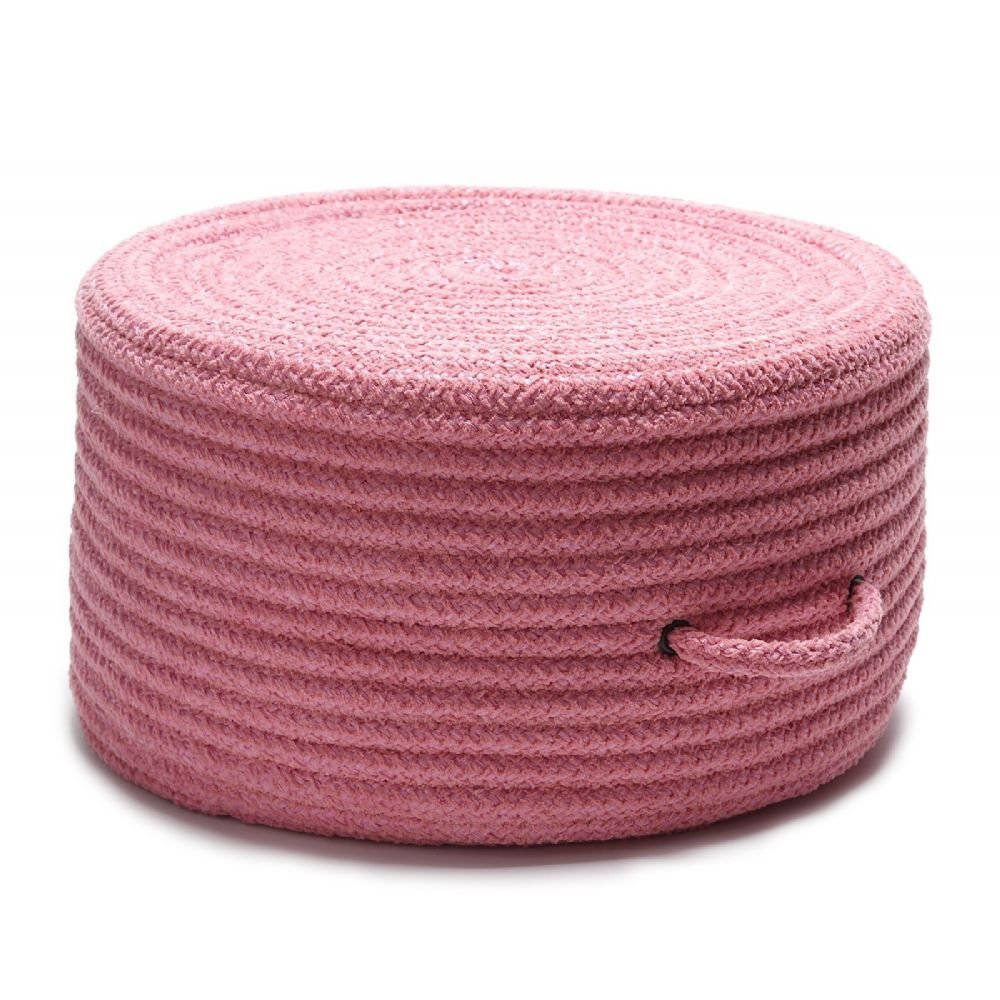 Colonial Mills Braided Round pouf/ottoman 20''x20''x11'' in Pink Color From Solid Chenille Pouf Collection