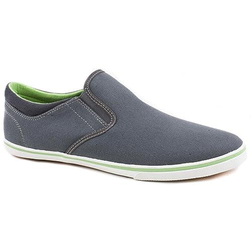 Pod - Mocasines de tela para hombre gris Grey/Lime, color gris, talla 44: Amazon.es: Zapatos y complementos