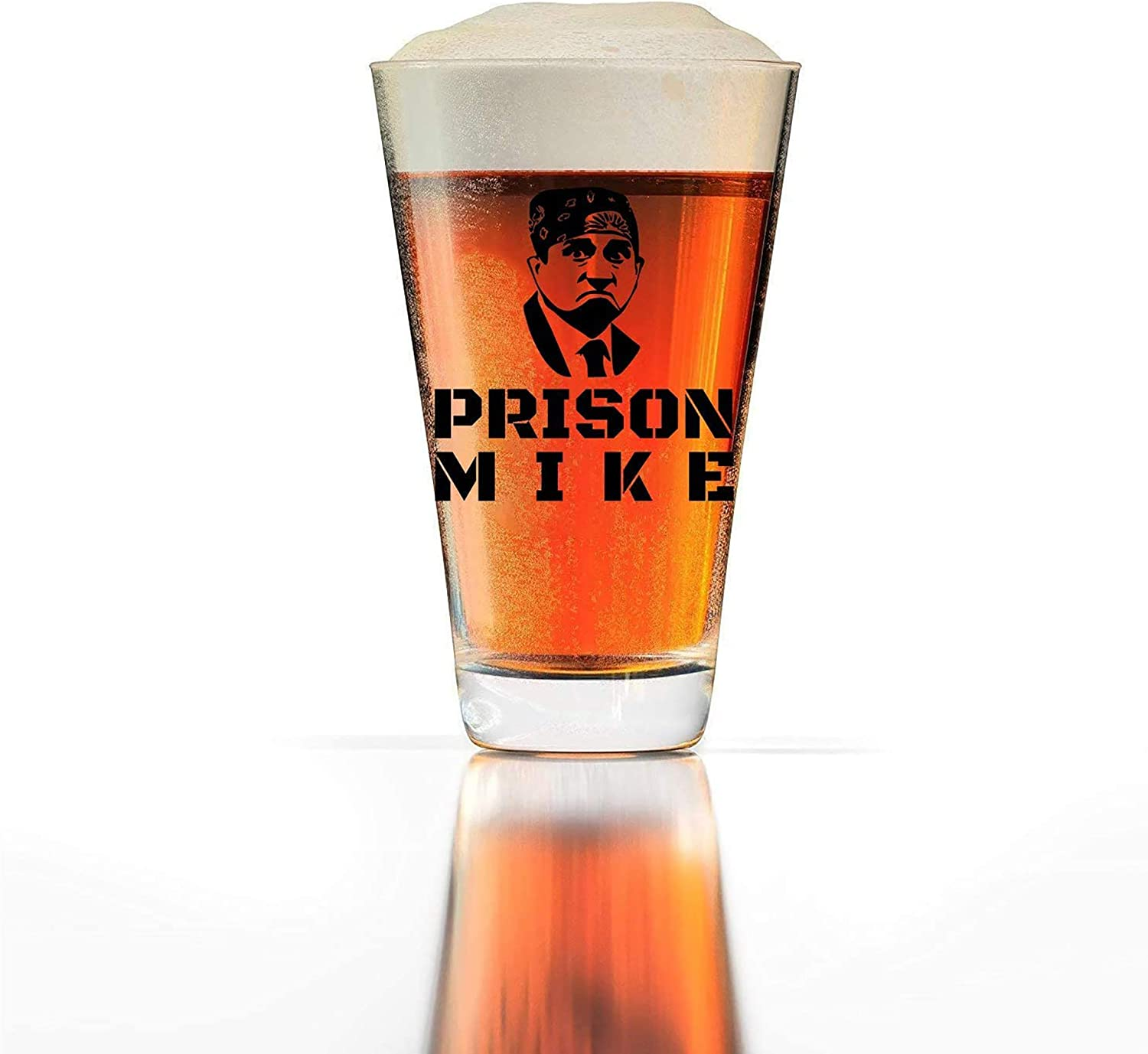 Prison Mike Beer Glass The Office Merchandise Michael Scott Funny Mug 16oz Pint Beer Glass
