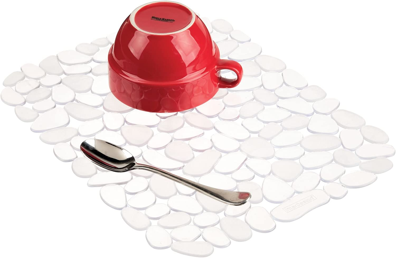 "iDesign Pebblz Large Plastic Sink Grid, Non-Skid Dish Protector Mat for Kitchen, Bathroom, Basement, Garage, 12"" x 15.5"" - Clear"