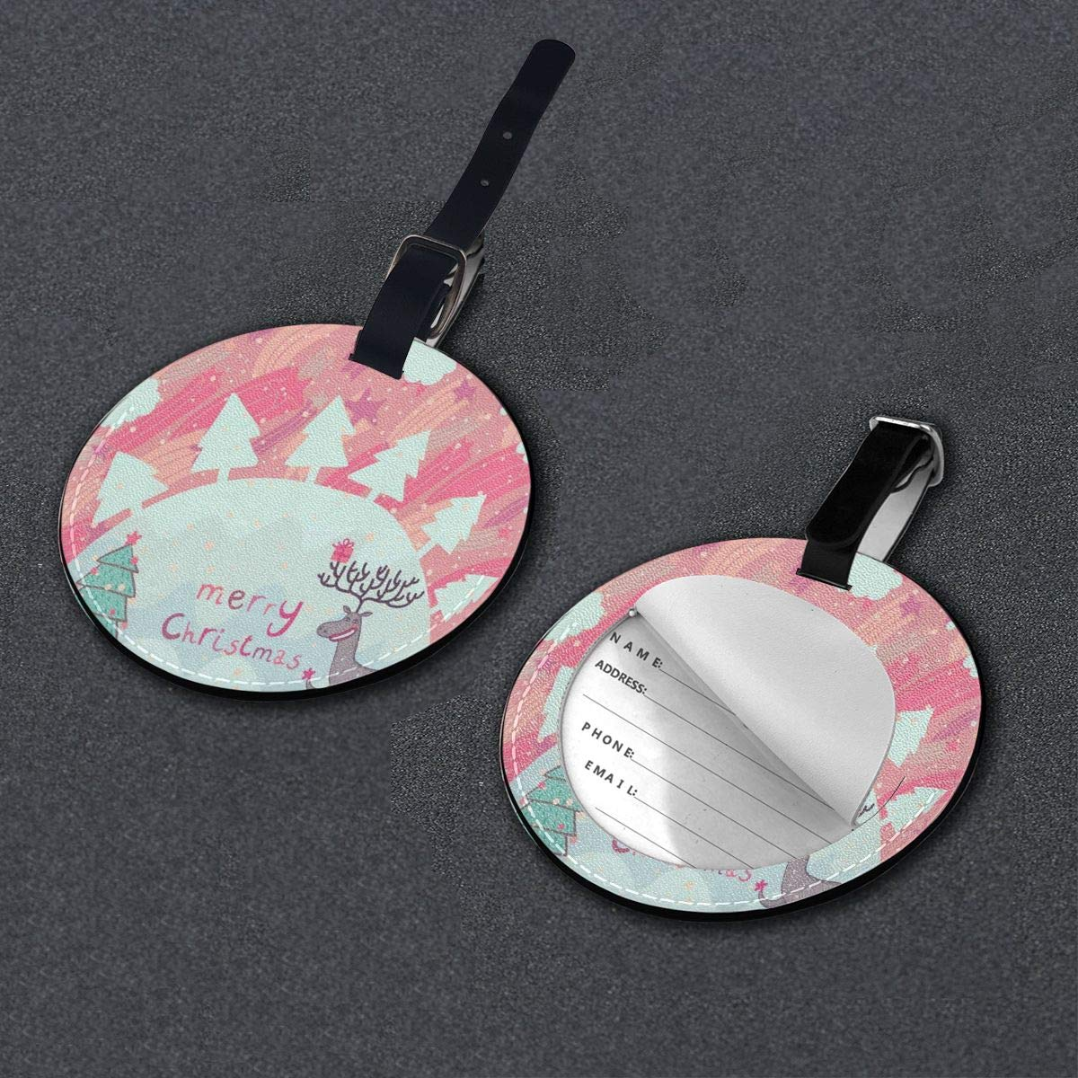 Round Luggage Tags Christmas Decoration PU Leather Suitcase Labels Bag