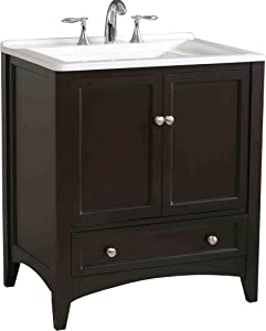 Stufurhome GM-Y01 30.5-Inch Manhattan Single Laundry Vanity in Dark Expresso Finish with Acrylic Sink