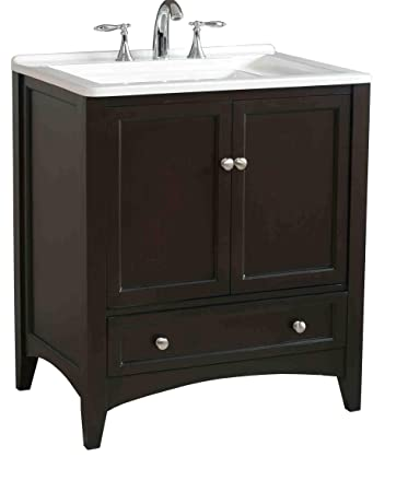 Stufurhome GM Y01 30.5 Inch Manhattan Single Laundry Vanity In Dark  Expresso Finish With