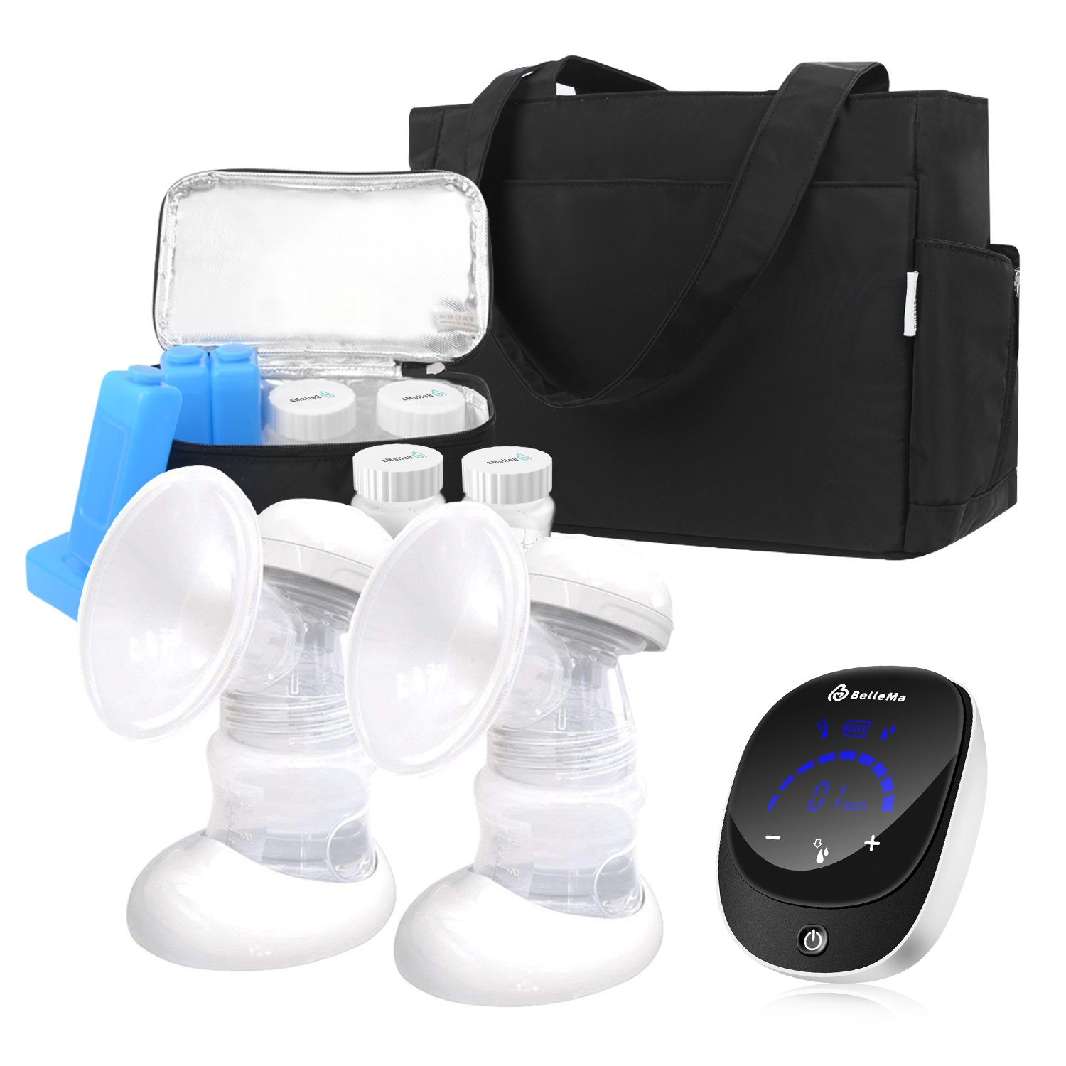 Electric Breast Pump with On The Go Tote, Bellema E3 Pro Customizable Setting Hospital Grade Breast Pump, Touch Control Breastfeeding Pump, 3 Power Low Noise Portable Milk Pump for Travel/Office/Home