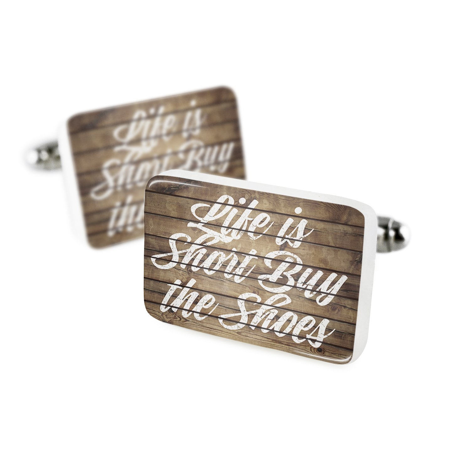 Cufflinks Painted Wood Life is Short Buy the Shoes Porcelain Ceramic NEONBLOND
