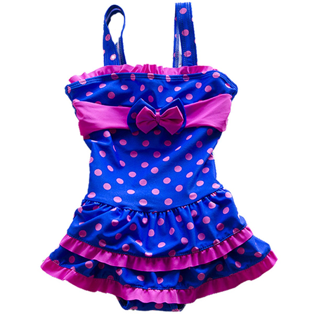 Baby Girls Toddler Kids Polka Dot One Piece Blue Skirt Swimsuit Swimwear With Caps SEBDFC103