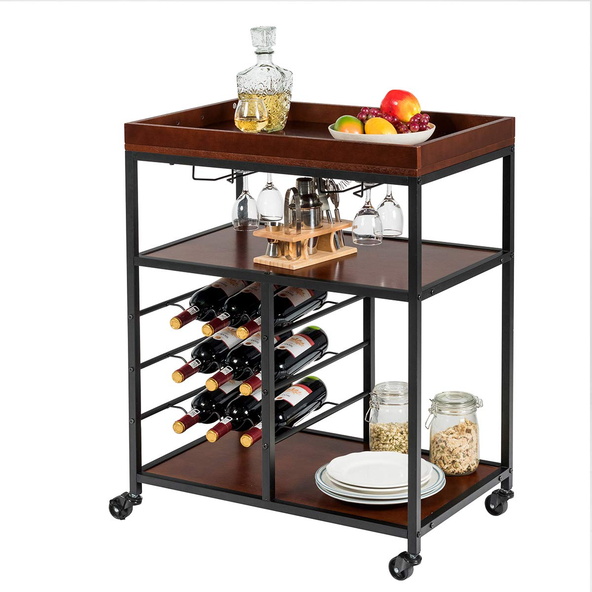 Giantex 3-Tier Kitchen Island Cart Rolling Trolley Industrial Style Serving Cart Utility Cart Wood Kitchen Stand with Glasses Holder and 9 Wine Bottles Rack Metal Frame and Castors Rustic Brown