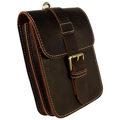 Men/'s Genuine Leather Belt Bag Waist Fanny Pack Cell Phone Pouch Wallet Purse