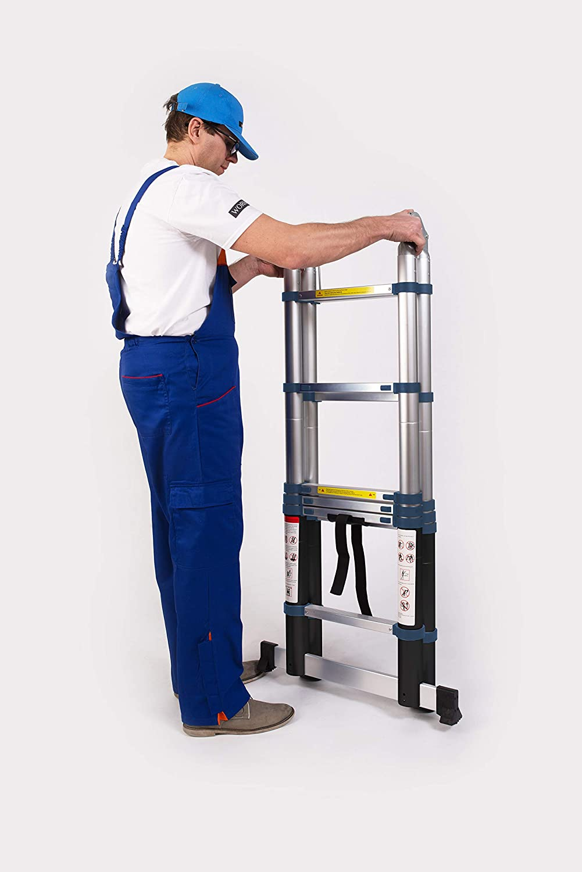 10 5 .3.2m C-line K3.2C Double Telescopic Foldable Extendable Multipurpose Aluminium A Frame Robust Ladder Step Ladder WORHAN/® 3.2m
