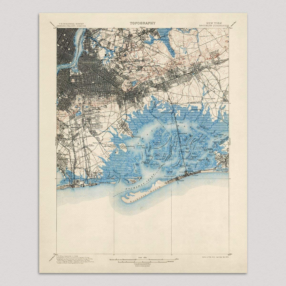 Map Of New York Brooklyn.Amazon Com Old Brooklyn And Queens Map Art Print New York City