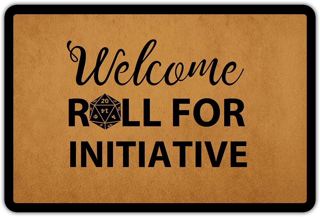 Entrance Door Mat Funny Welcome Welcome Roll for Initiative Rubber Non Slip Backing Mat for Indoor Outdoor 23.6 in(W) X 15.7 in(L)