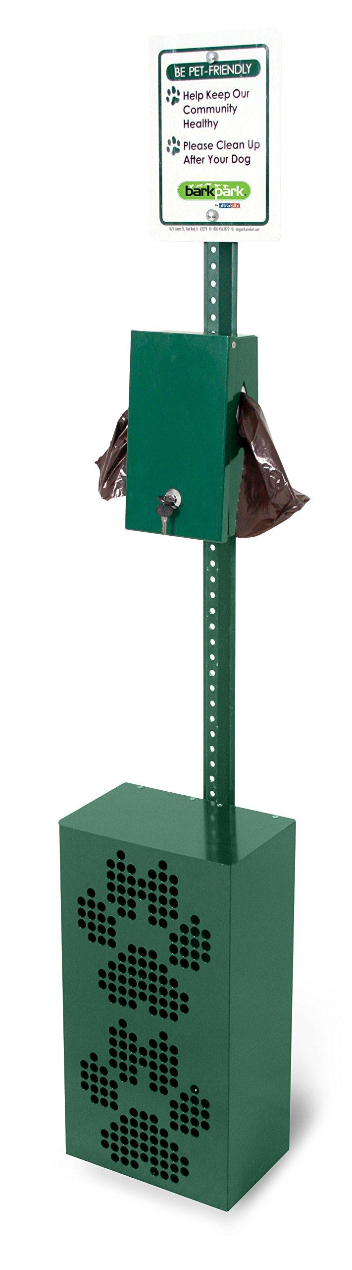 BarkPark Pet Waste Receptacle Station with Locking Bag Dispenser, Green